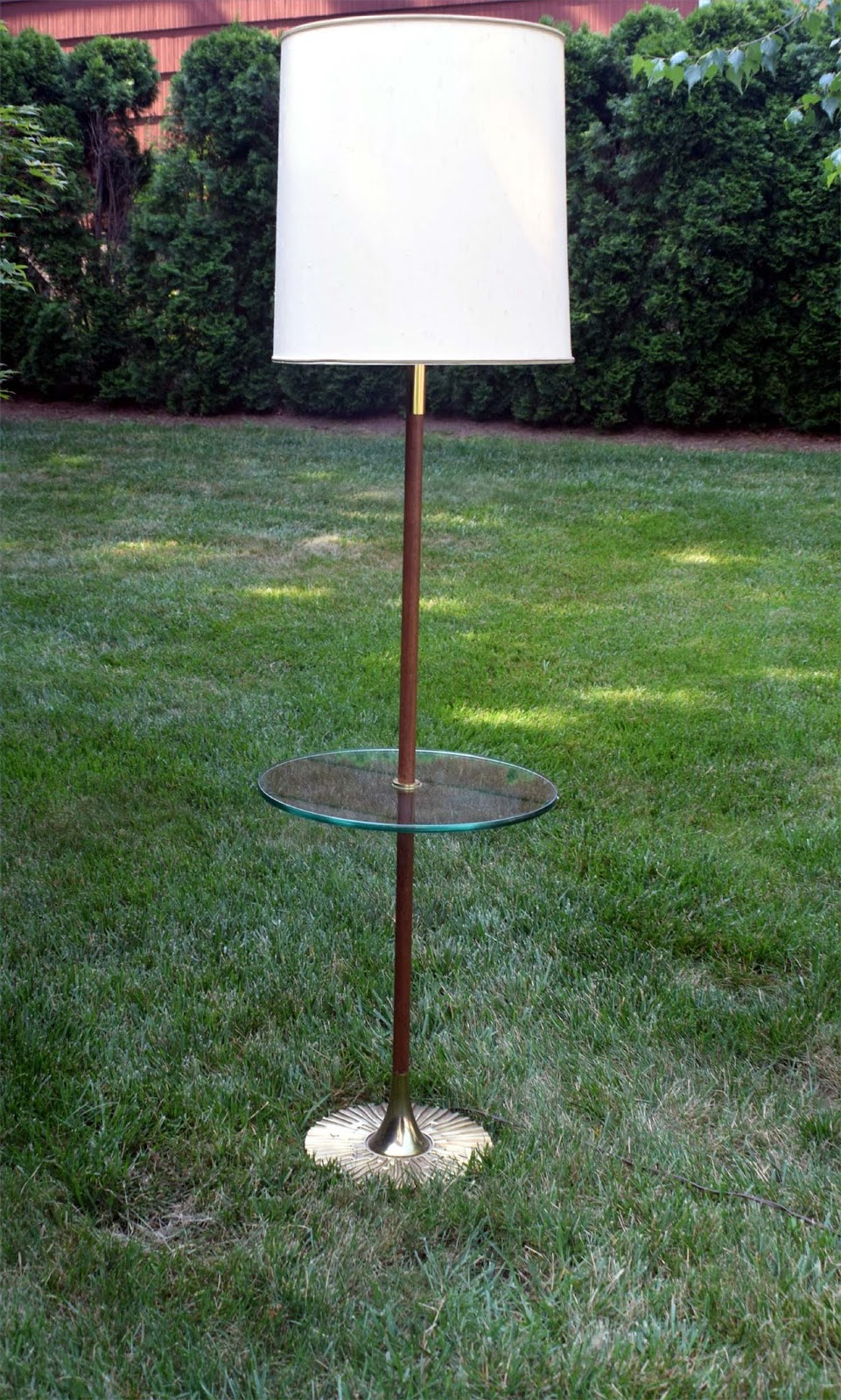 Affordable Modernism Mid Century Floor Lamp 250 3 Way Switch Walnut Shaft With Brass Collar In Beautiful Condition Base Is A Brutalist Design Shade Gorgeous And There For Lighting