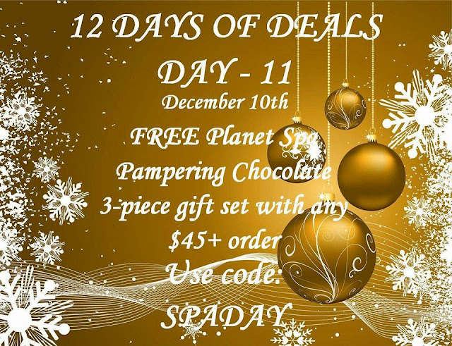 December 10: Day 11: FREE Planet Spa Pampering Chocolate 3-piece Gift Set with any $45+ order ($22.97 value) Use Code: SPADAY at https://maryvjjj1.avonrepresentative.com/