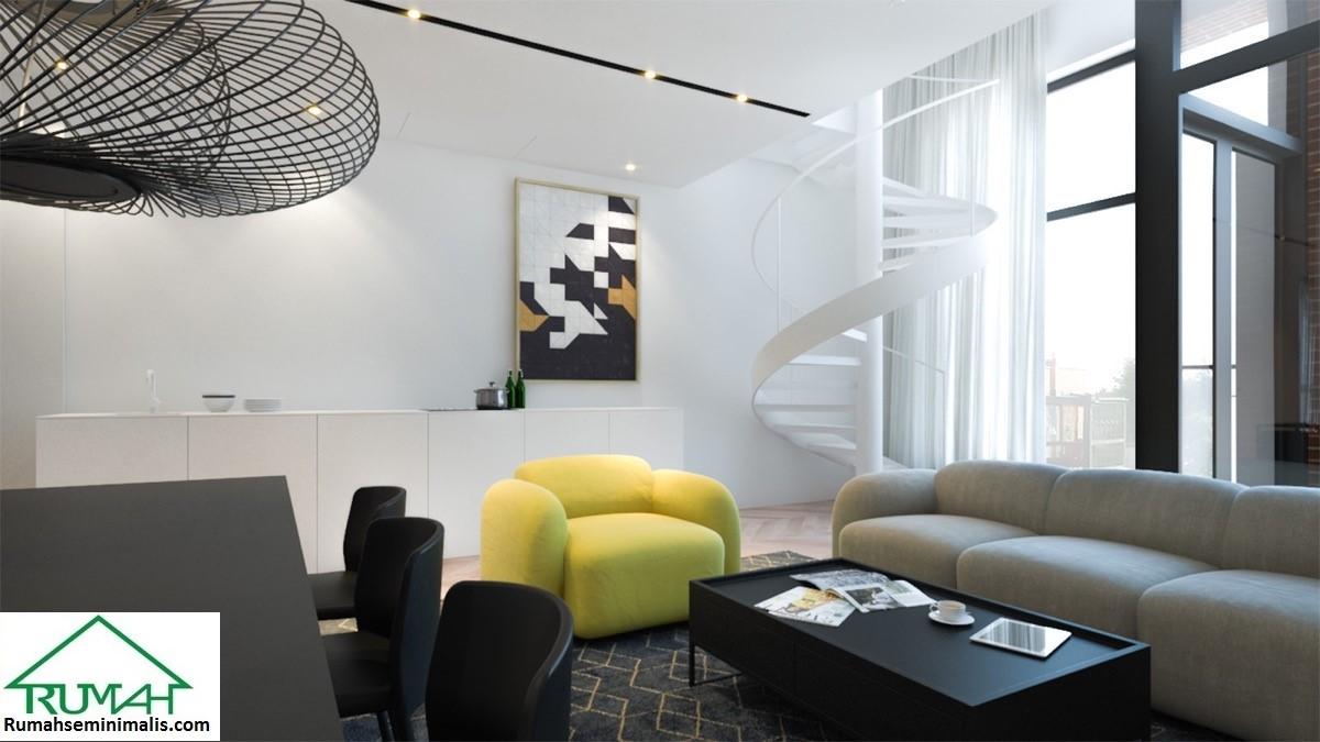 Kumpulan Denah Model Desain Gambar Ruang Tamu Minimalis Warna Cat Kuning