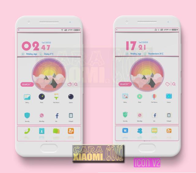 Thema Xiaomi Pink Flat Reborn MTZ MIUI9/V8 [Suport merubah WhatsApp menjadi Mod WhitePink Material]