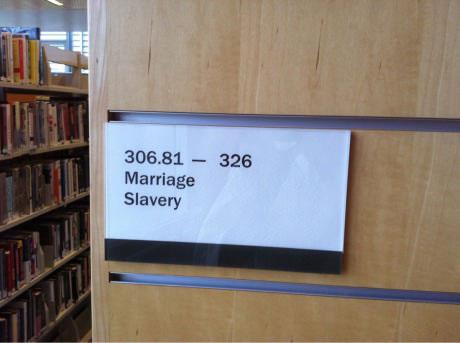 Library Dewey Decimal System Marriage to Slavery. Talk Dewey To Me. marchmatron.com
