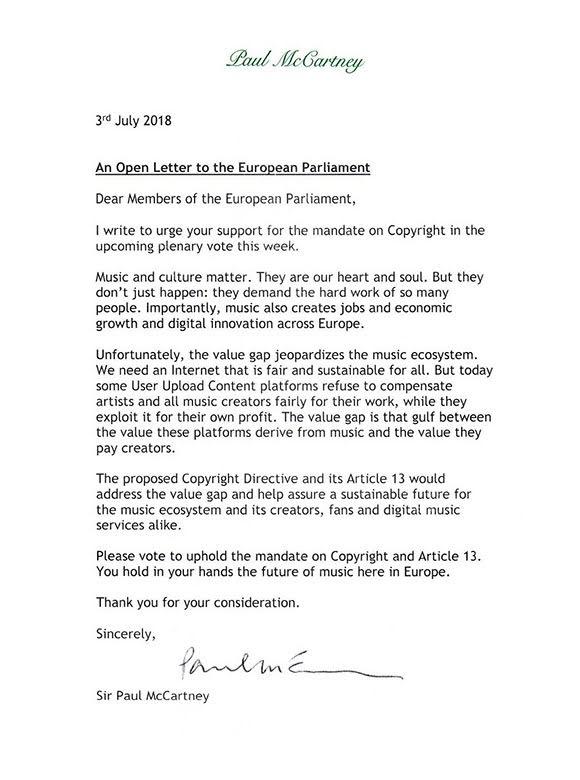 Lettre de Sir Paul McCartney aux députés européens pour appeler à voter pour l'EU Copyright Directive (droit d'auteur)..