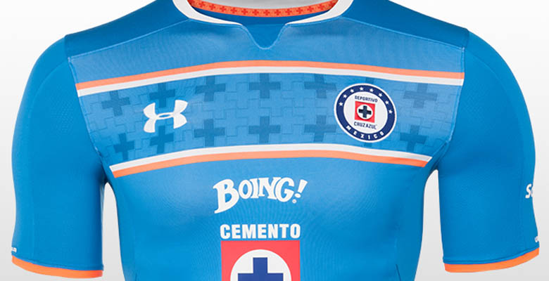 3d0952de ... while the Cruz Azul 2015-2016 Away Kit is white with blue details and  the Cruz Azul 2015-16 Third Jersey has a striking orange main color.