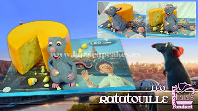 Tarta personalizada fondant impresión comestible cumpleaños Léo Ratatouille Laia's Cupcakes Puerto Sagunto