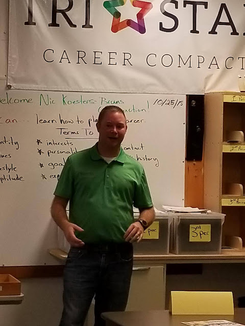 Nick Koesters addresses students about local opportunities with his company