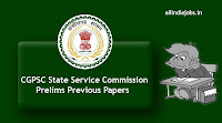 CGPSC State Service Commission Prelims Previous Papers