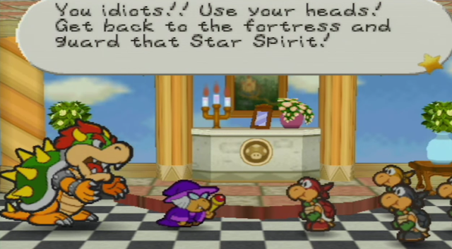 Paper Mario Bowser Princess Peach's Castle after Goomba King defeated Koopa Bros. Star Spirit
