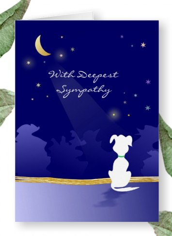 moon and stars dog sympathy card