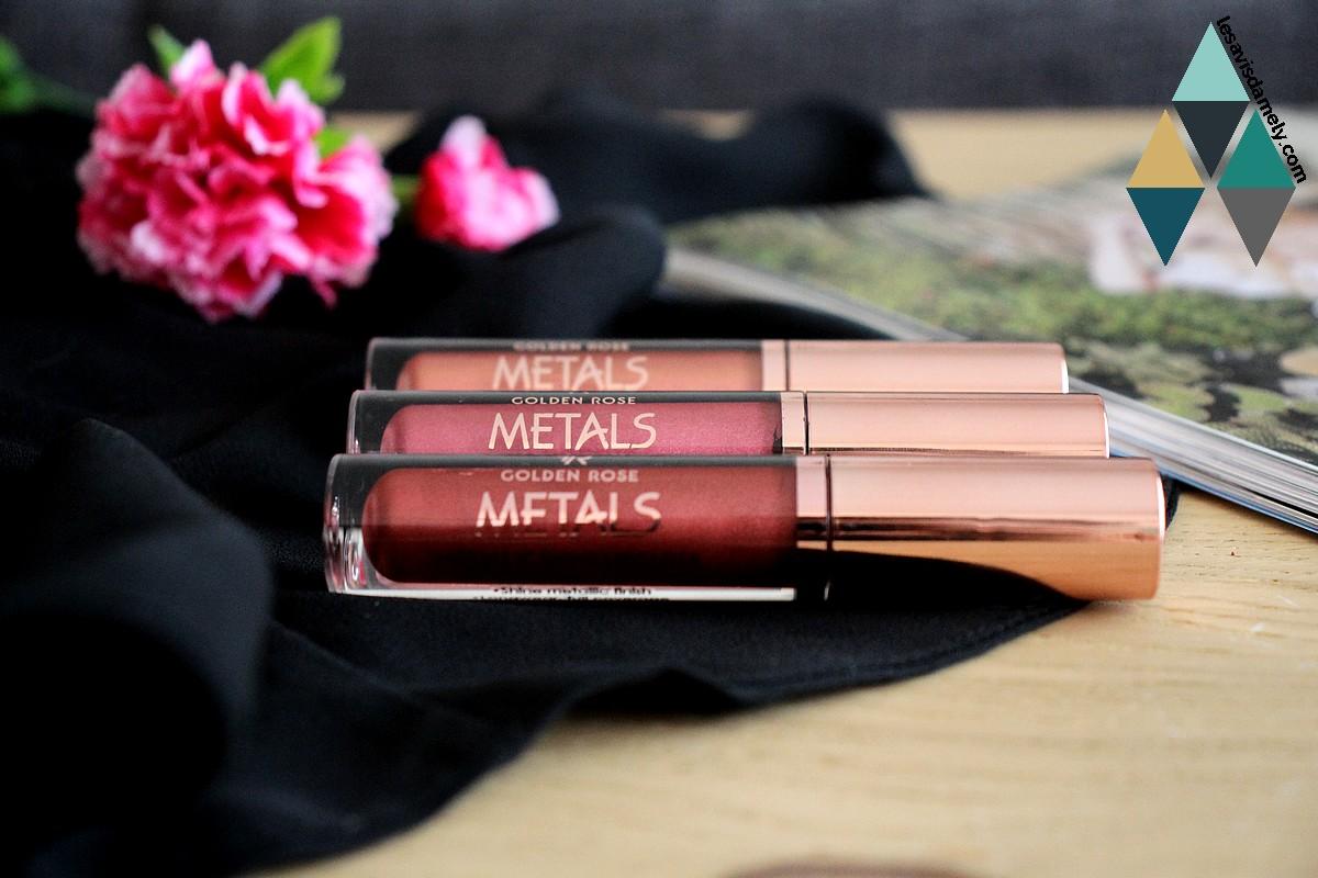 Metals golden rose rouge à lèvres métalliques cookies makeup