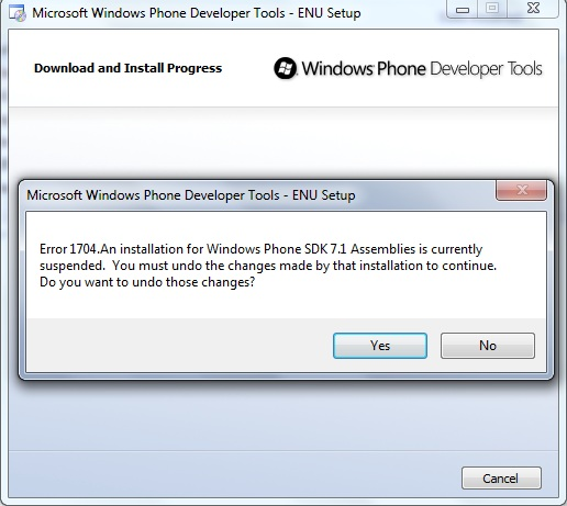 Fighting with Windows Phone Developer Tools Installer