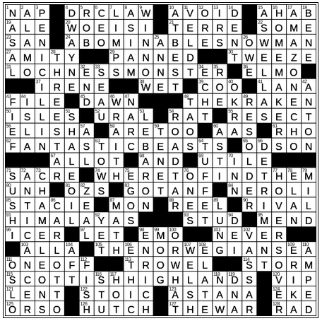 December 9 2018 New York Times Crossword Clues And Answers
