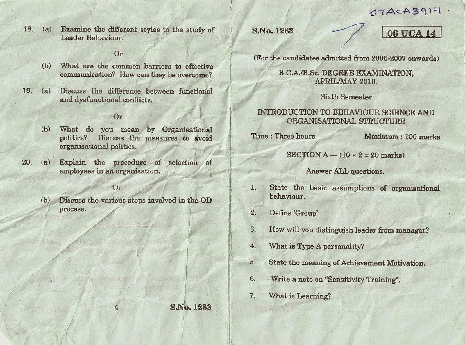 Periyar University B C A, B Sc Degree Examination, April May 2010