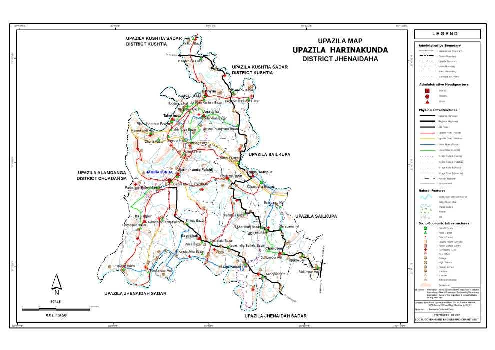 Harinakunda Upazila Map Jhenaidah District Bangladesh