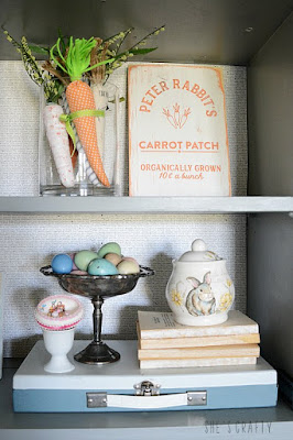 Spring Home Tour - farmhouse, Easter and vintage style- Easter vignette- wooden sign, carrots