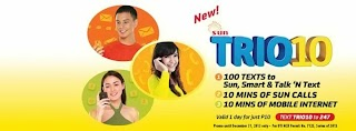 Sun Cellular TRIO 10 promo TRINET text for only 10 pesos