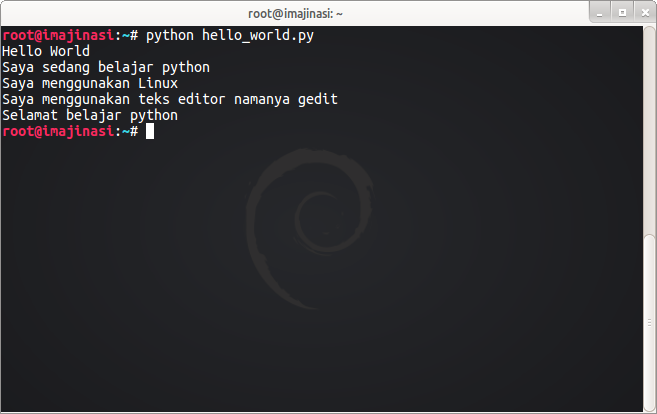 Program Hello World dengan python