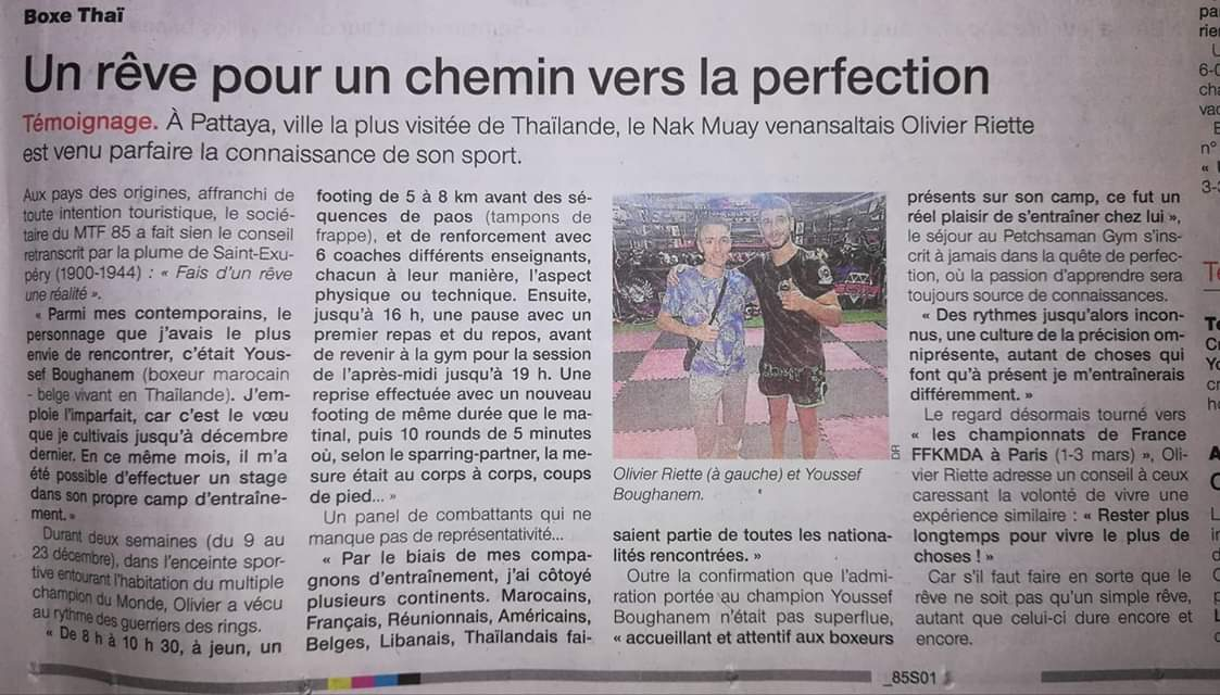 ARTICLE OUEST FRANCE SUR LE STAGE AU CAMPS PETCHSAMAN