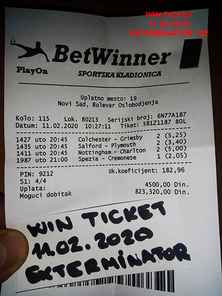 WIN TICKET FROM YESTERDAY TUESDAY/ UTORAK 11.02.2020