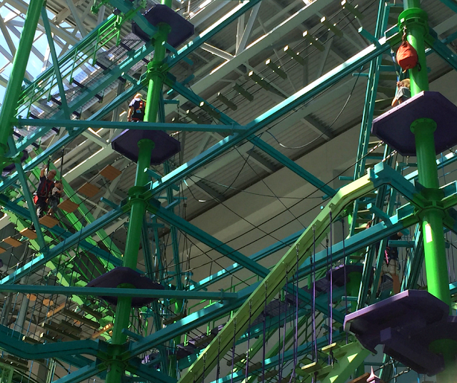 Ropes course high above the amusement park at Nickelodeon Universe