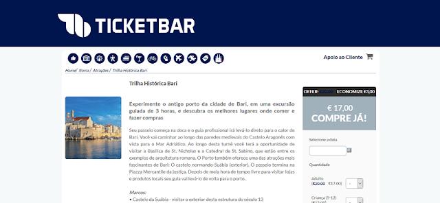 Ticketbar para a compra de ingressos em Bari