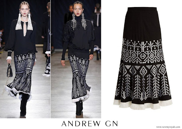 Queen Rania wore Andrew gn Aztec-embroidered wool-blend midi skirt
