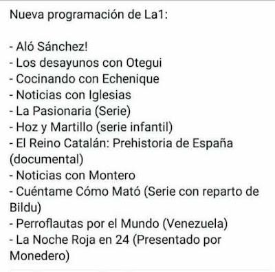Nueva programación de la 1 de televisión española