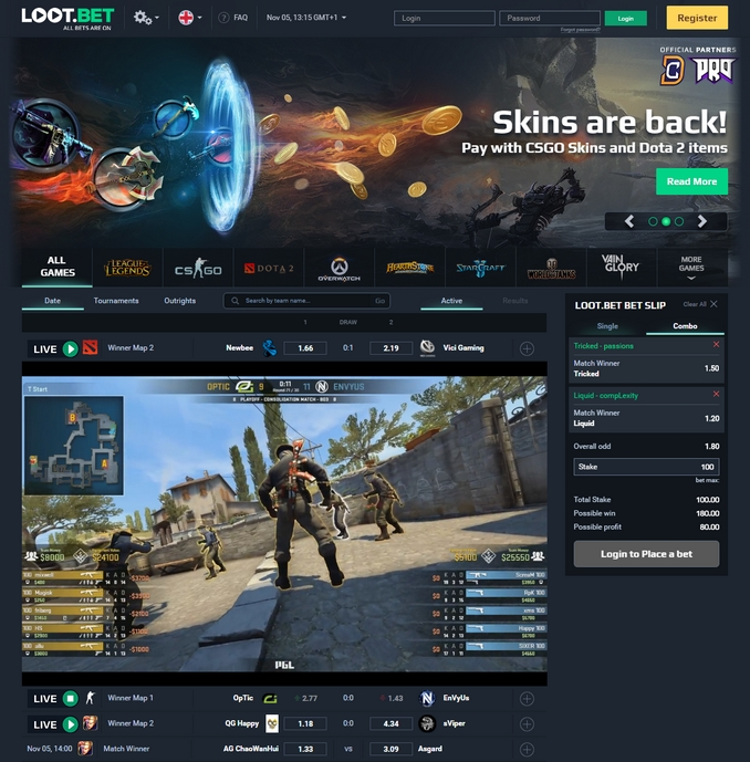 Loot-bet Live Betting Screen