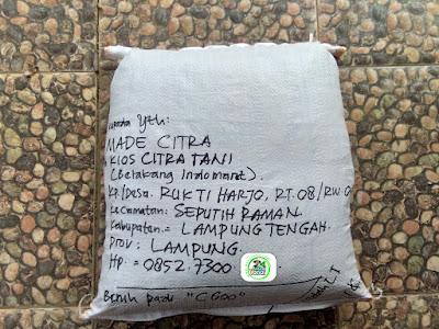 Benih Padi Pesanan  MADE CITRA Seputih Raman, Lampung Tengah.  Benih Sesudah di Packing