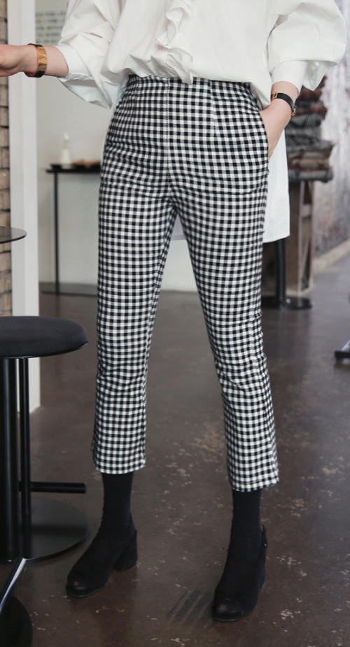 Gingham Check Cropped Pants