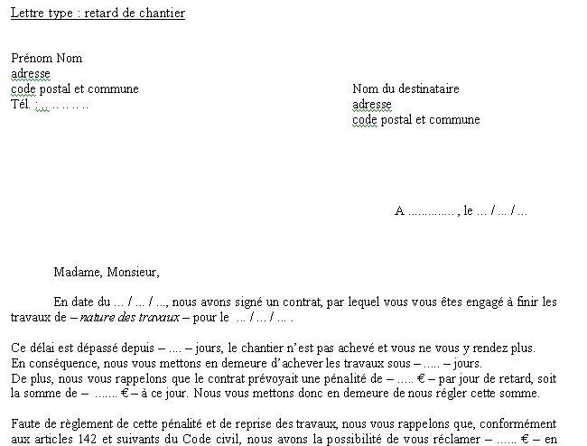 Modele Lettre Pour Retard De Chantier Et Préjudice Cours