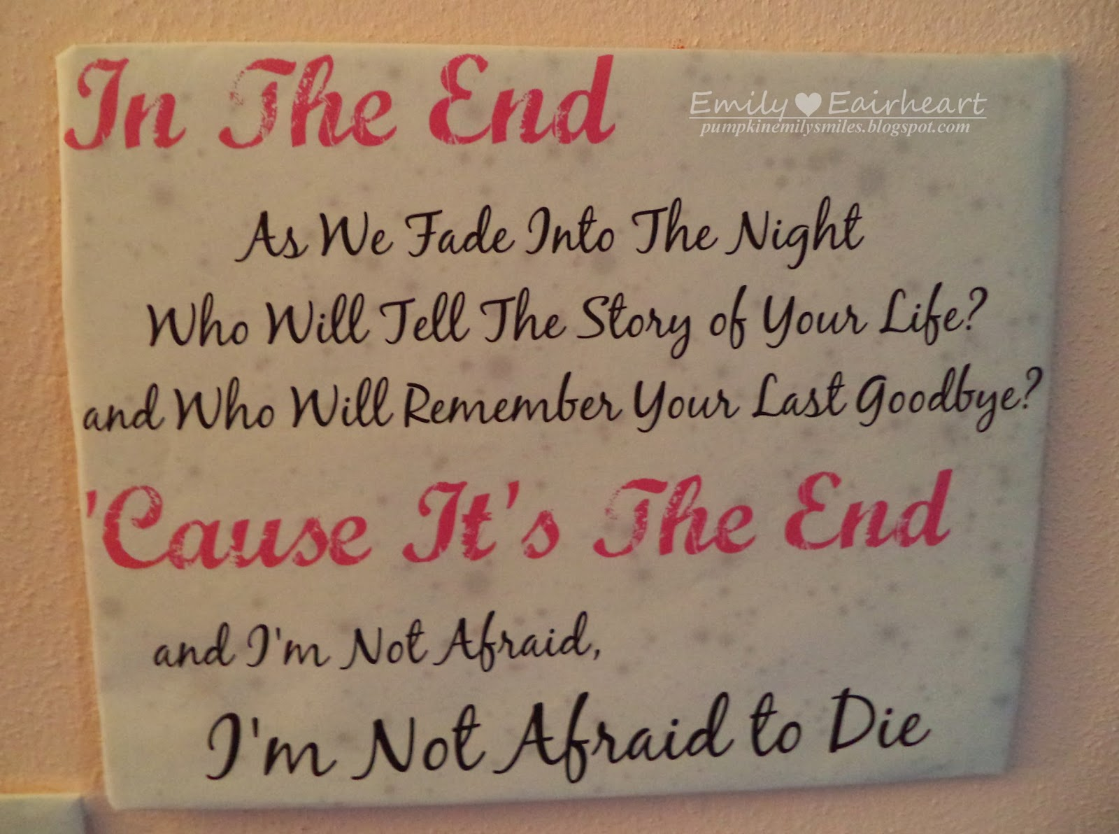 Black Veil Brides In The End lyric art, fan art