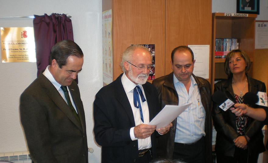 """José Bono, inaugura en Peñascosa (Albacete), la Biblioteca Municipal """"Clamores del Viento"""""""