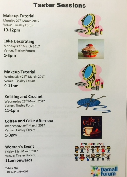 Make-up Mon at 10 & Wed at 9, Cake Decorating Tue at 1, Knitting & Crochet Wed at 11, Coffee & Cake Wed at 1, Women's Event Fri 11