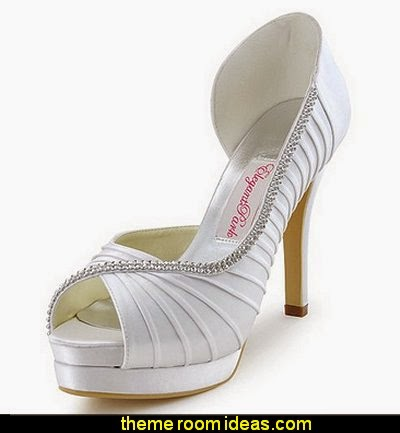 Peep Toe Platform High Heel Pleated Satin Wedding Bridal Shoes