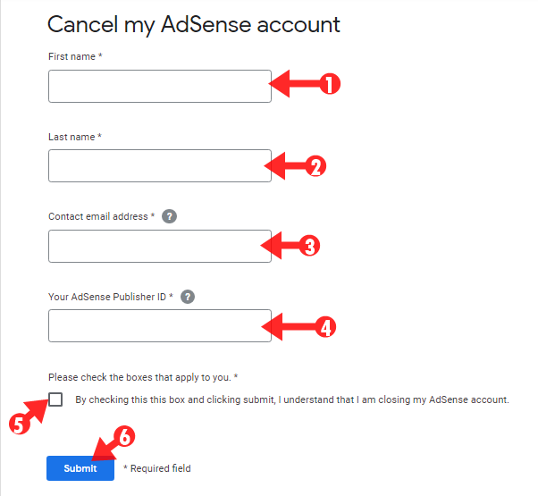 How can i cancel my disable adsense account