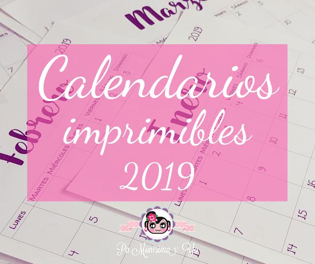 Calendarios imprimibles 2019 monerias pamonisimayo