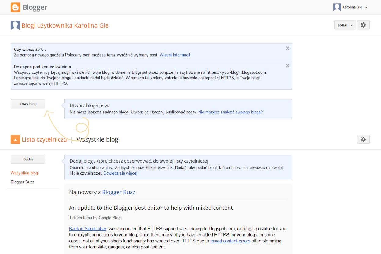 Jak założyć bloga na bloggerze (blogspocie)? - utwórz blog