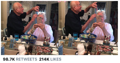#RelationshipGoals :See this viral picture of granpa helping wife out with her hair