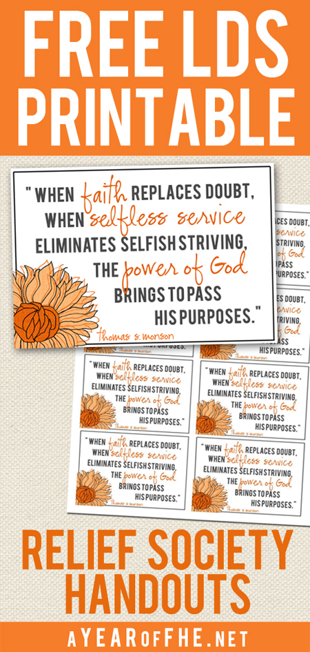 You can download an entire sheet of this cute quote to hand out in Relief Society or to the sisters you Visiting Teach! You get 8 on each sheet for easy at-home printing.  Or you can always have them printed at a copy center.  These are the perfect size to stick in your scriptures or display on your fridge!  #lds #printable #relief society #service