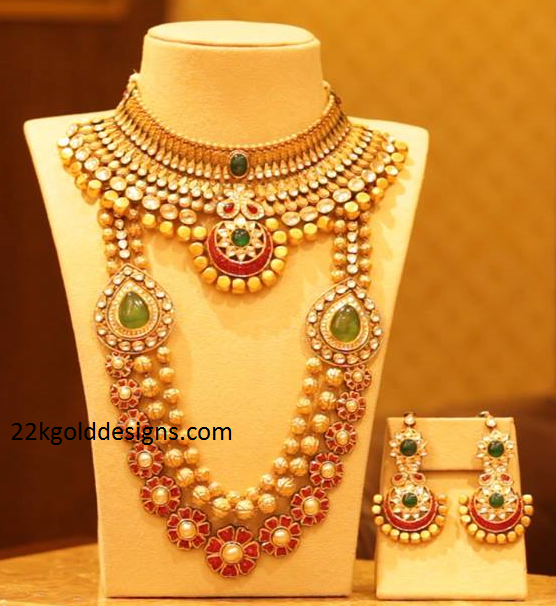 Manubhai Designer Gold Necklace and Long Chain