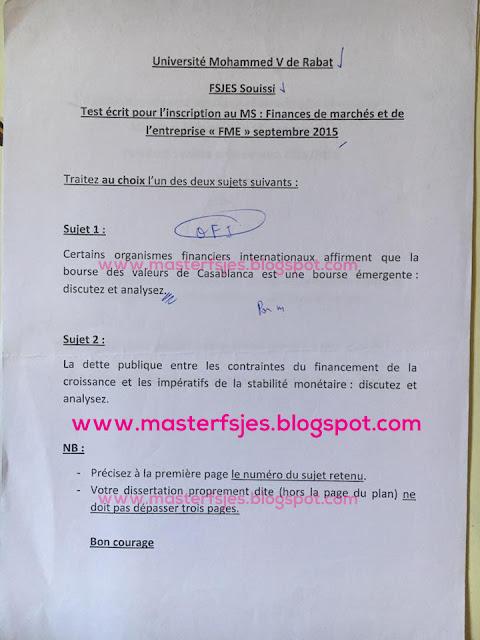 Concours d'accès au Master Finances de Marchés et de l'Entreprise 2015-2016 - Fsjes Souissi