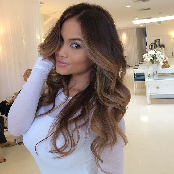 Ombre Hair Brown To Caramel To Blonde Medium Length Lovable Face-Framing H...