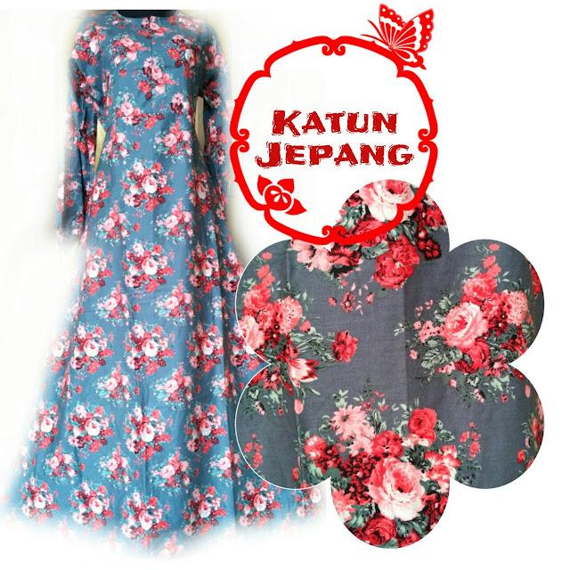 gamis katun jepang motif bunga terbaru