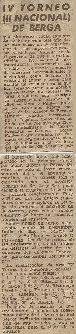 IV Torneo de Ajedrez de Berga 1954 en un recorte de prensa