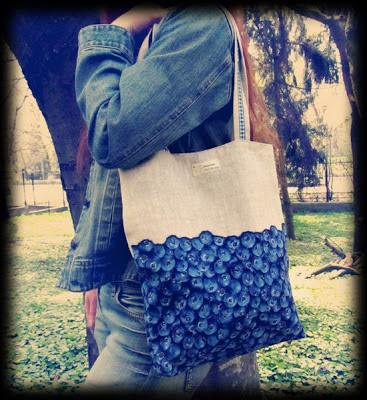 шитье, сумка с черникой, tote bag