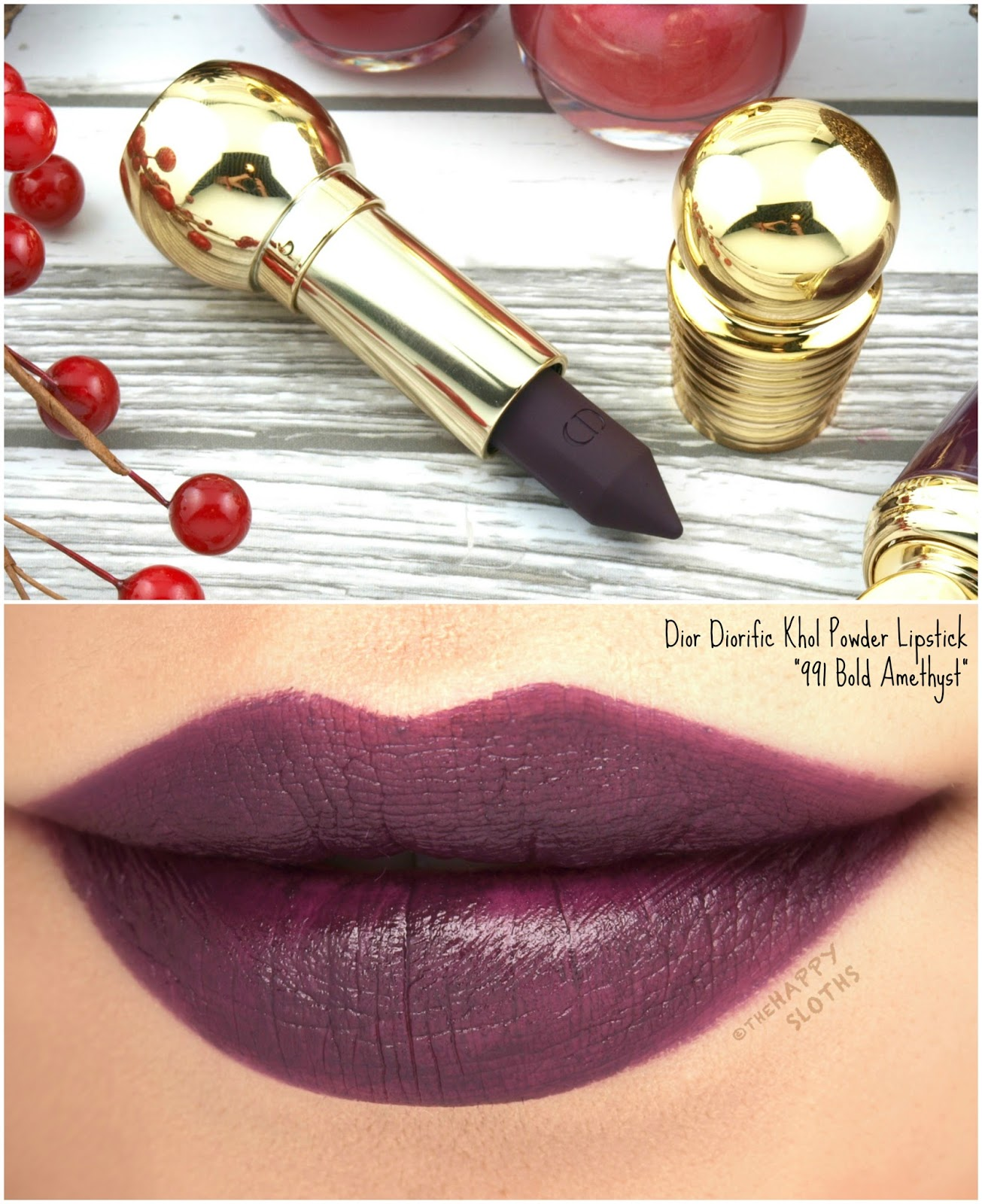 """Dior Holiday 2017   Diorific Khol Powder Lipstick in """"991 Bold Amethyst"""": Review and Swatches"""