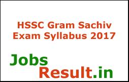 HSSC Gram Sachiv Exam Syllabus 2017