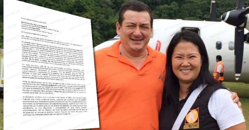 ROLANDO REÁTEGUI: Me he visto en la necesidad de decir toda mi verdad a la Fiscalía, según carta dirigida a Keiko Fujimori