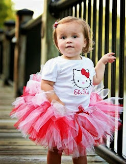 Dress tutu hello kitty anak warna pink