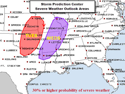 SPC outlook for severe t'storms April 9-10, 2013